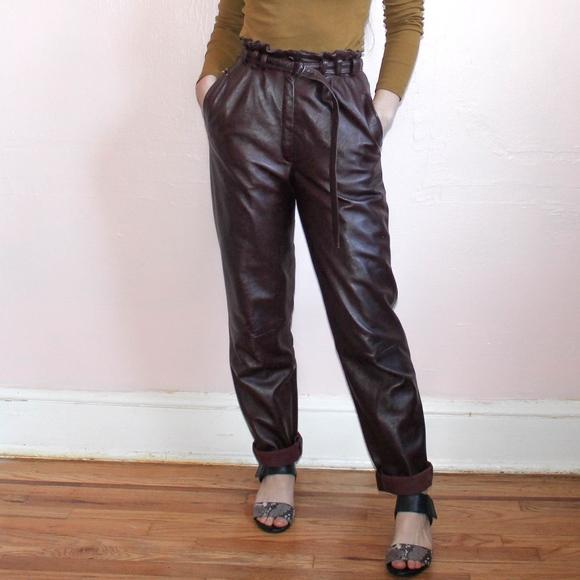 acf01739351f Vintage Pants | 296 Vtg 1970s Leather Paper Bag Waist Trousers ...